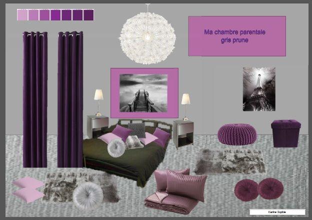 Ma chambre parentale gris prune de karine sophie room idea boards chambre parentale prune - Chambre parentale grise ...