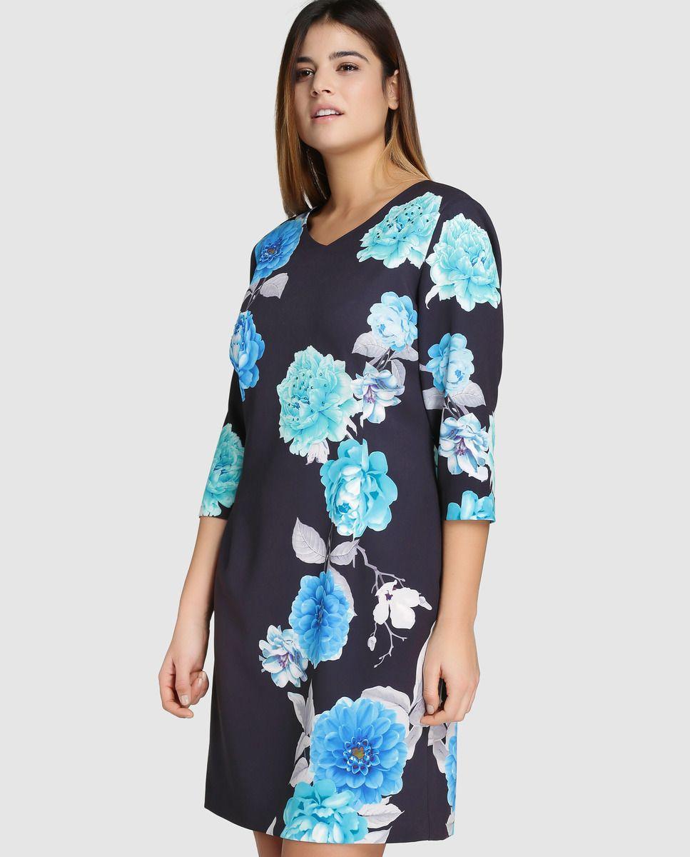 3946dee1d Vestido corto de mujer talla grande Antea Plus con estampado floral · Antea  Plus · Moda · El Corte Inglés