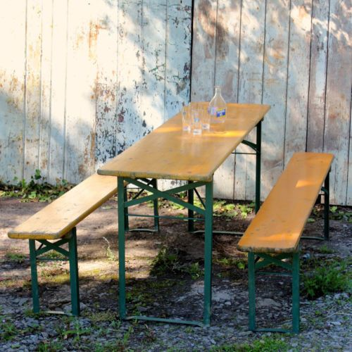 Vintage Industrial German Beer Folding Table And Bench