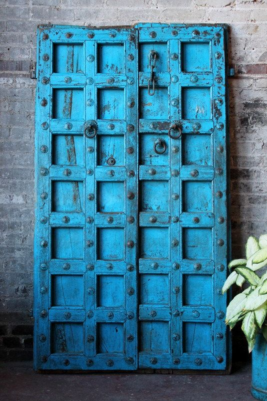 Antique Indian Door Set Teak Wood Blue Haveli Doors Global Influenced Decor  Indian Furniture Moorish Moroccan - Antique Indian Door Set Teak Wood Blue Haveli Doors Global