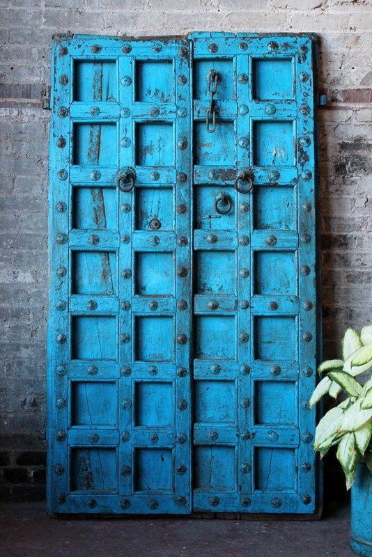 Antique Indian Door Set Teak Wood Blue Haveli Doors Global Influenced Decor  Indian Furniture Moorish Moroccan - Antique Indian Door Set Teak Wood Blue Haveli Doors Global