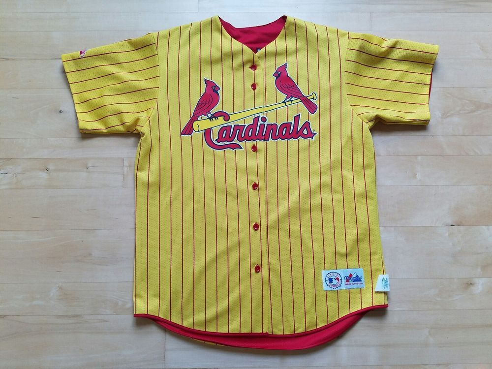 huge sale fa0a7 0cd45 Cardinals Mens #25 Mark McGwire Reversible Red & Yellow ...
