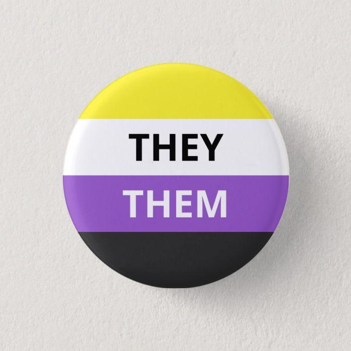 Photo of They/Them Pronouns Non-Binary Flag Badge Button | Zazzle.com