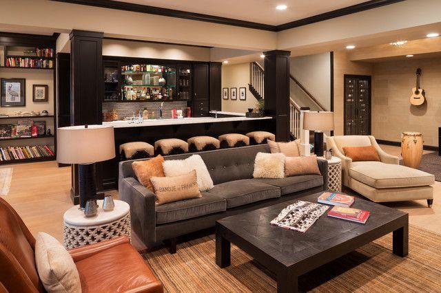 15 stunning transitional basement design home basement house rh pinterest com