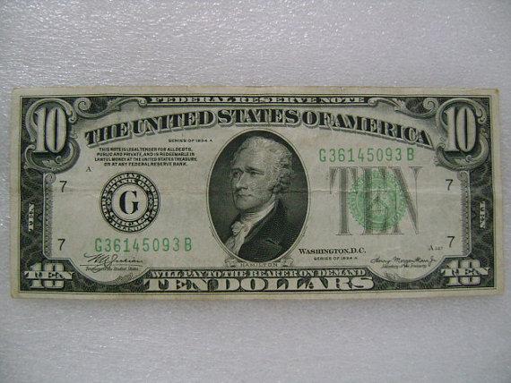 $10 DOLLAR Crisp 1934 Richmond VA Federal Reserve Note Currency Bill Money