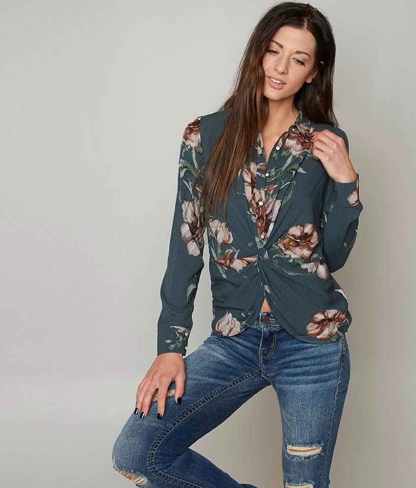 55cf00d2 Daytrip Floral Shirt - Women's Shirts/Blouses in Dark Teal | Buckle ...