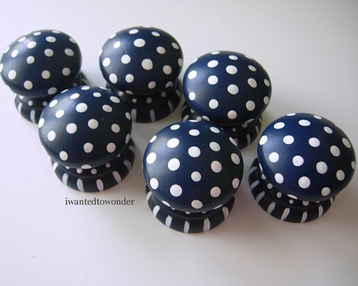 Navy Blue ..Set of 6 Large ..Hand Painted Dresser Knobs or Pulls .. cute for Boys Nautical Room or Bath ...the are Painted and Ready To Ship. $28.99, via Etsy.
