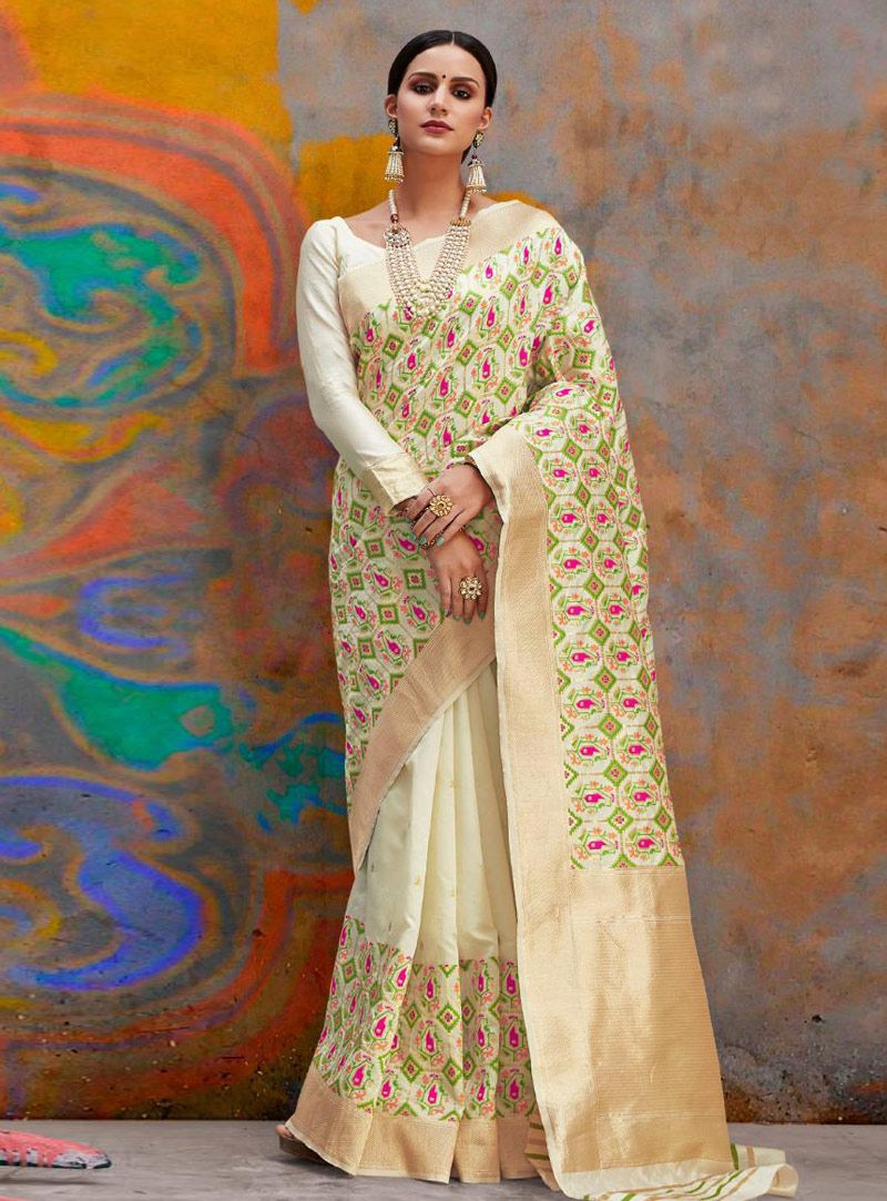 85c87a6266 Buy Beige Silk Saree With Blouse 153146 with blouse online at lowest price  from vast collection of sarees at Indianclothstore.com.