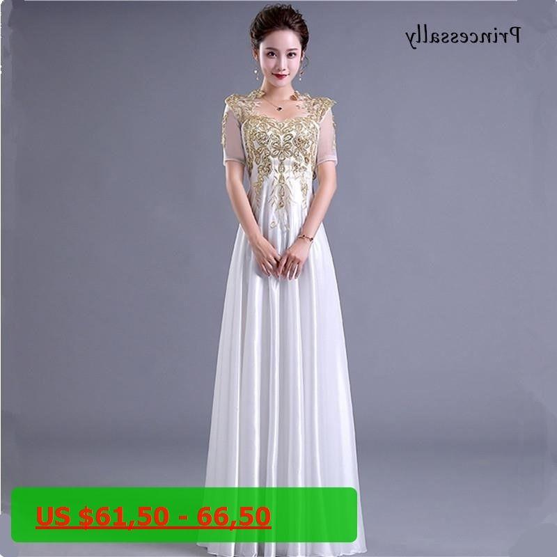 Vestidos New White Bridesmaid Dresses Half Sleeve Gold Appliques Embroidery  Beading Satin Elegant Winter Wedding Prom cfc4e0165dc6