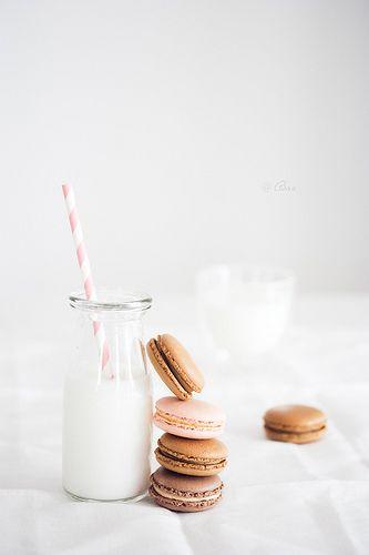 카라멜, 초콜릿 마카롱&우유 세트