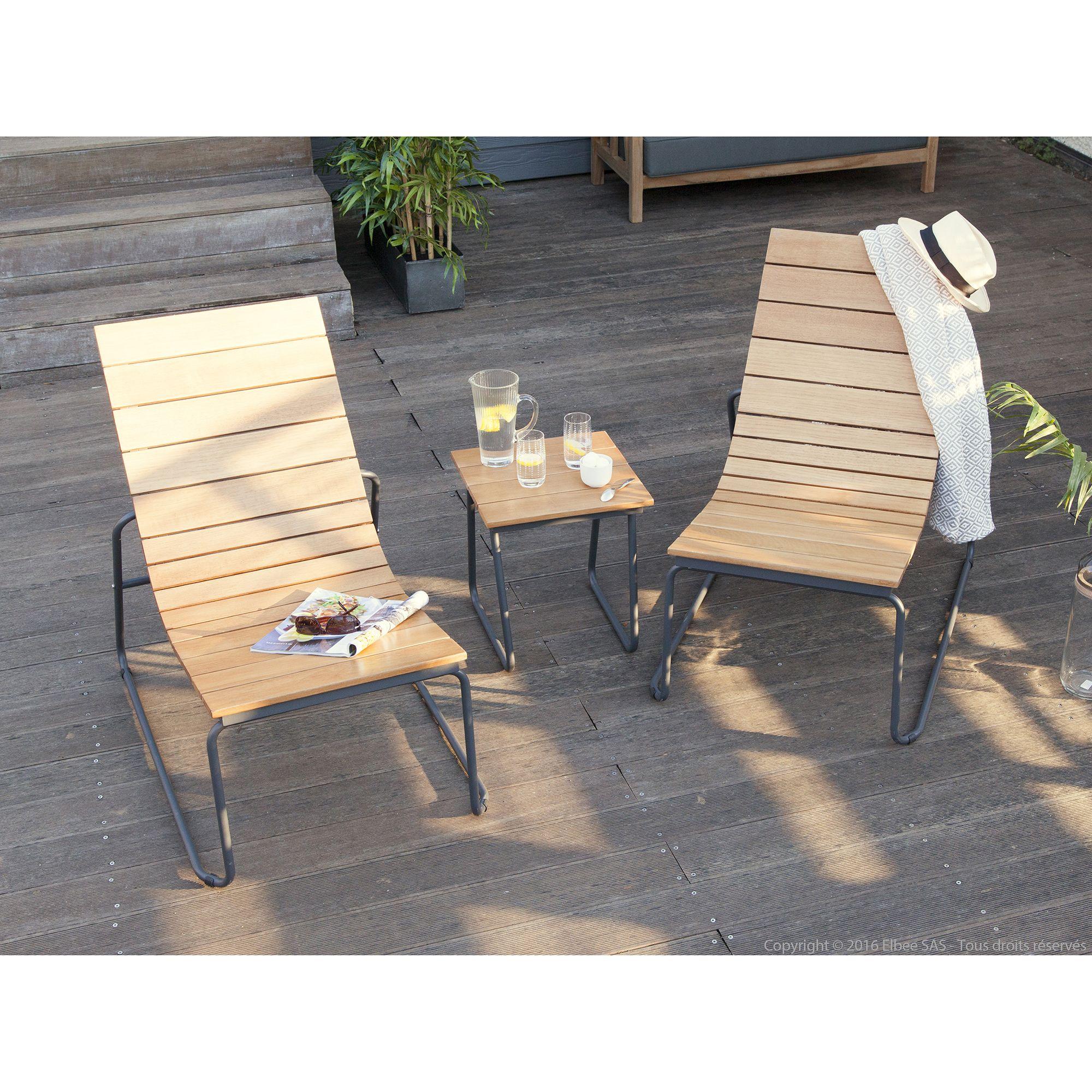 Salon de jardin composé de : 1 Table basse en aluminium et ...