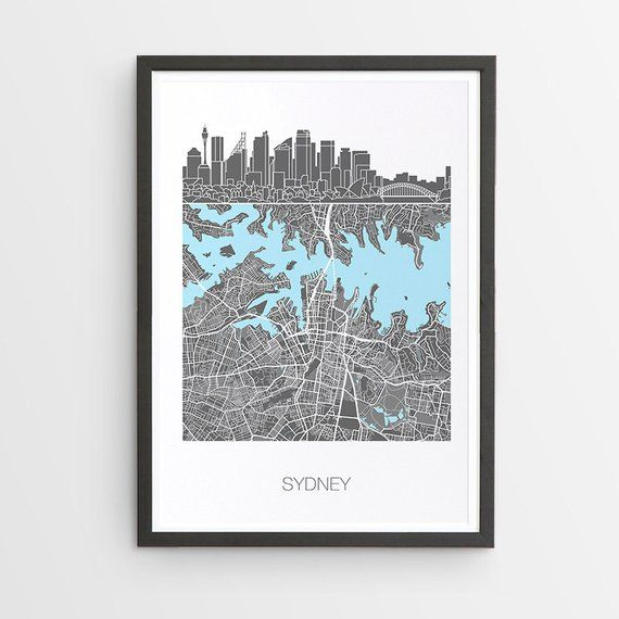 Sydney City Skyline Map Print / NSW / Australia / Skyline