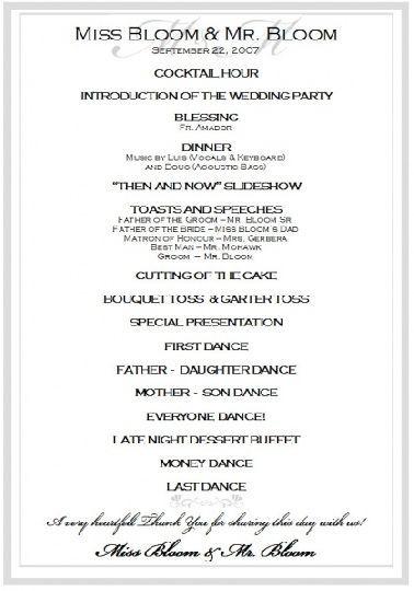 Aps Here S A Sample Program Wedding Reception Program