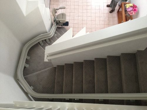Curved Bruno Stairlift Or Some People Call It Chairway Lift Stairchair Stairglide Stairway Lift And More Indoor Stairways Made In America