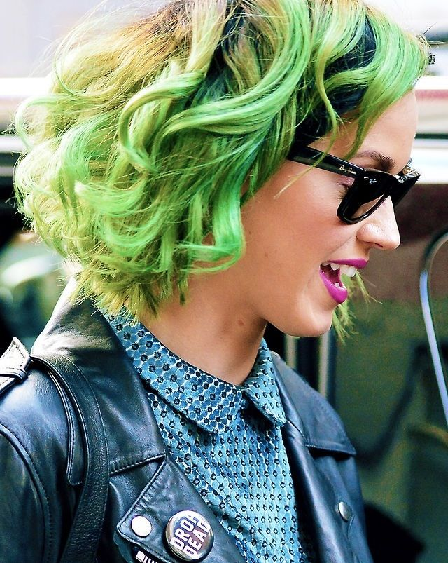 Katy Perry is the queen of daring hair, as she proves with this bright green style! #HairInspo