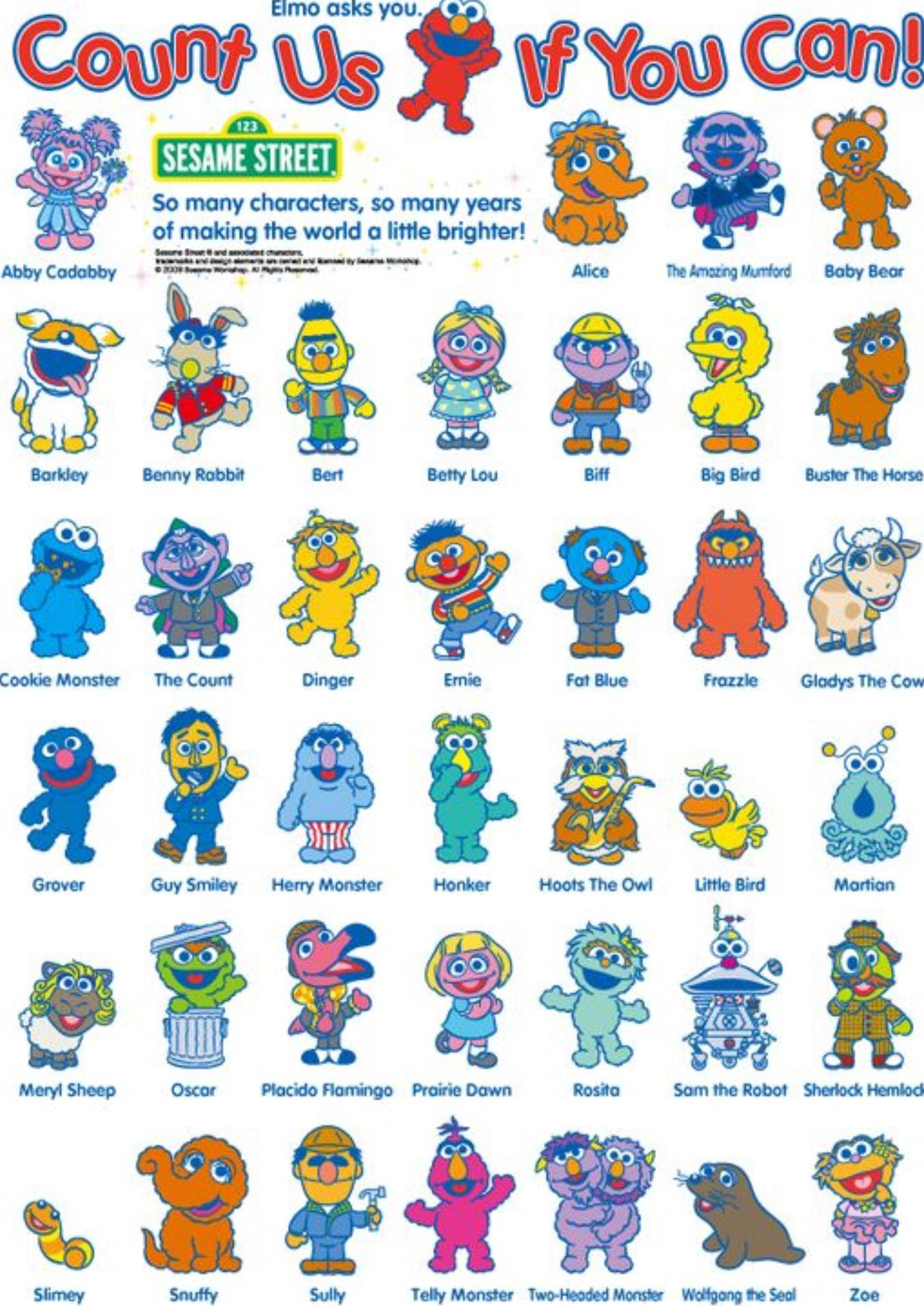 Name Of Sesame Street Characters With Pictures Sesame