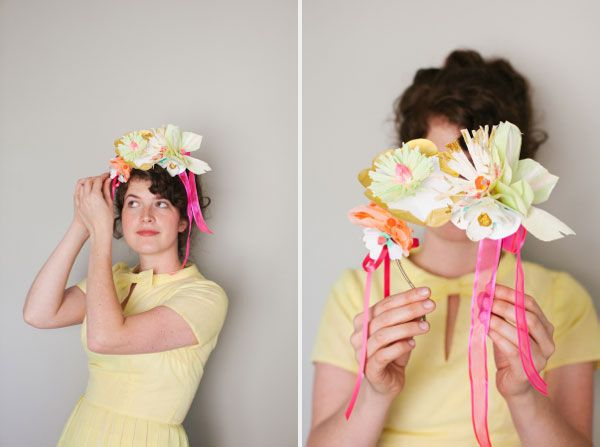 Painted paper flower headbands diy crafty pinterest for Painted paper flowers