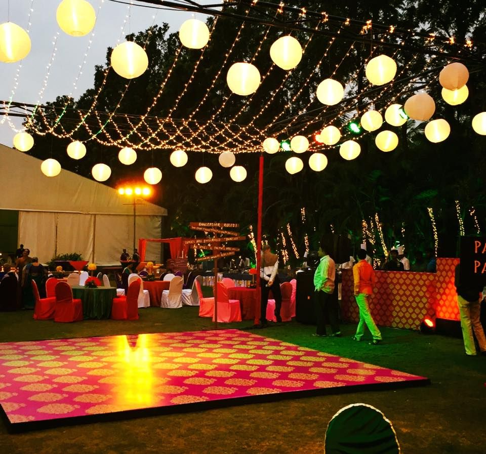 Day wedding stage decoration  Dance floor with chinese lanterns and fairy lights dancefloor