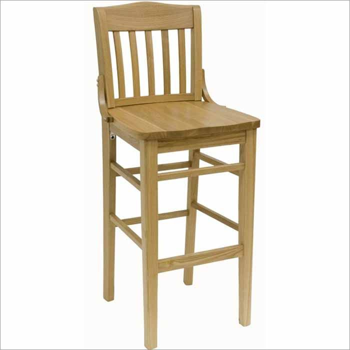 Slat Back Schoolhouse Oak Wood Bar Stool