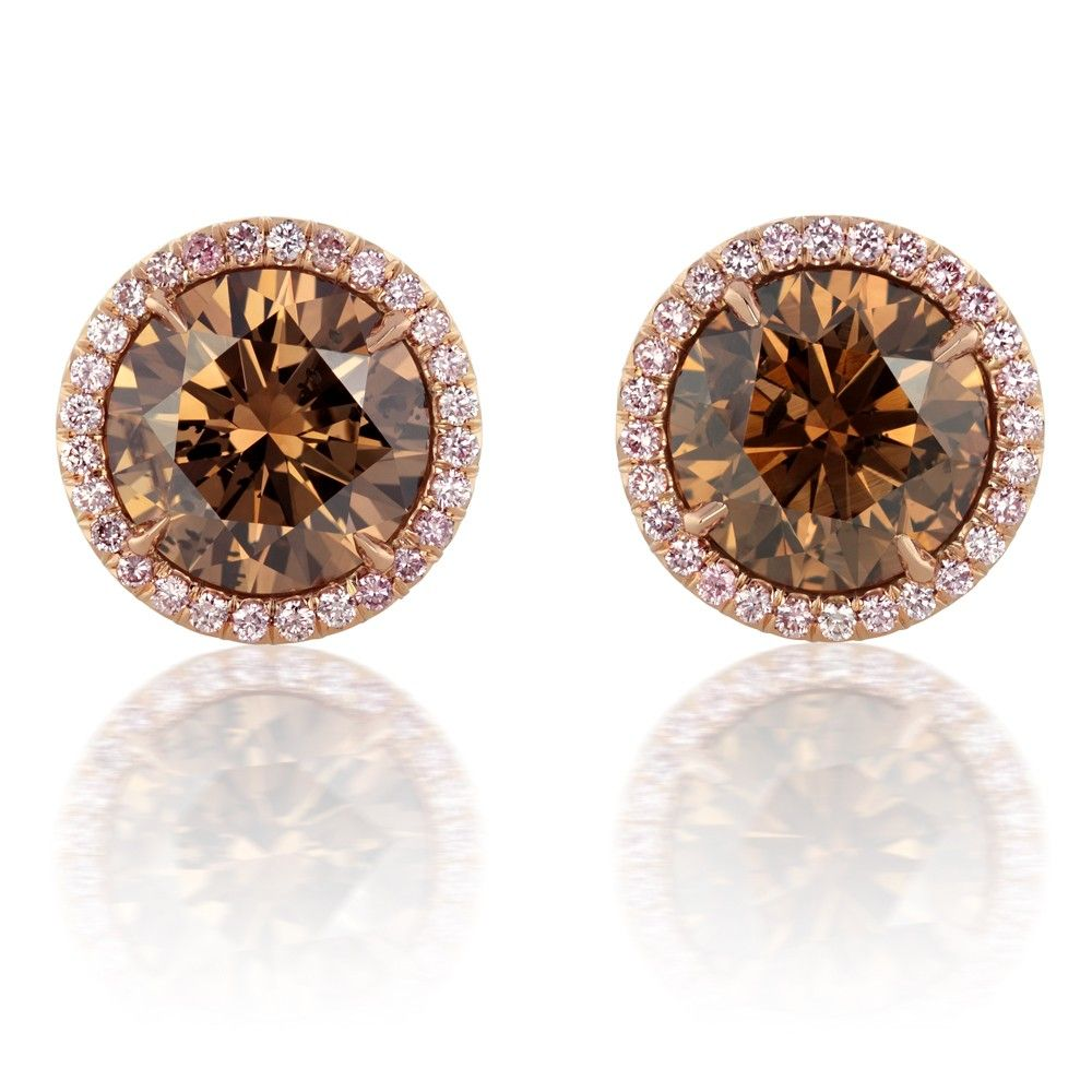3 20 Carat Fancy Dark Orangy Brown Diamond Earrings Accented With A Pink Diamond Halo Describe Cognac Diamonds Colored Diamond Jewelry Fancy Brown Diamond