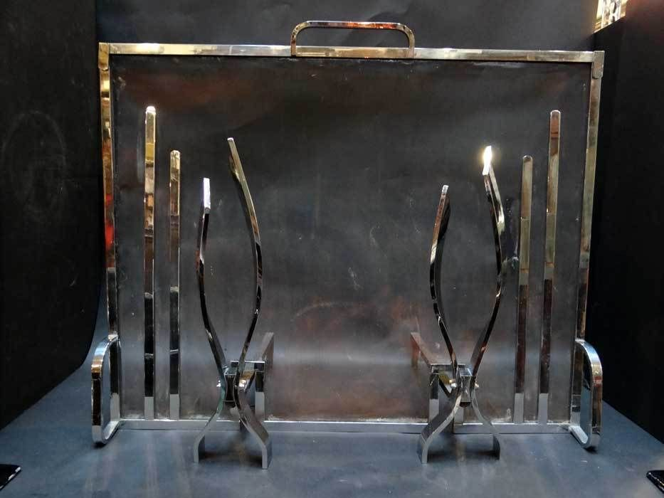 Art Deco Chrome Fireplace Screen And Andirons Fireplaces