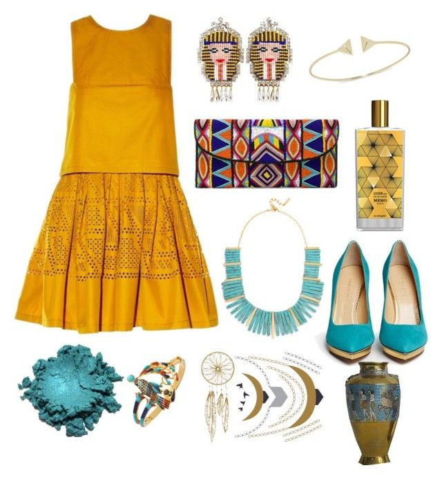 """Pharaoh"" by mercantichiara on Polyvore featuring moda, Fendi, Shourouk, ASPIGA, BaubleBar, MEMO, Charlotte Olympia e Tattify"