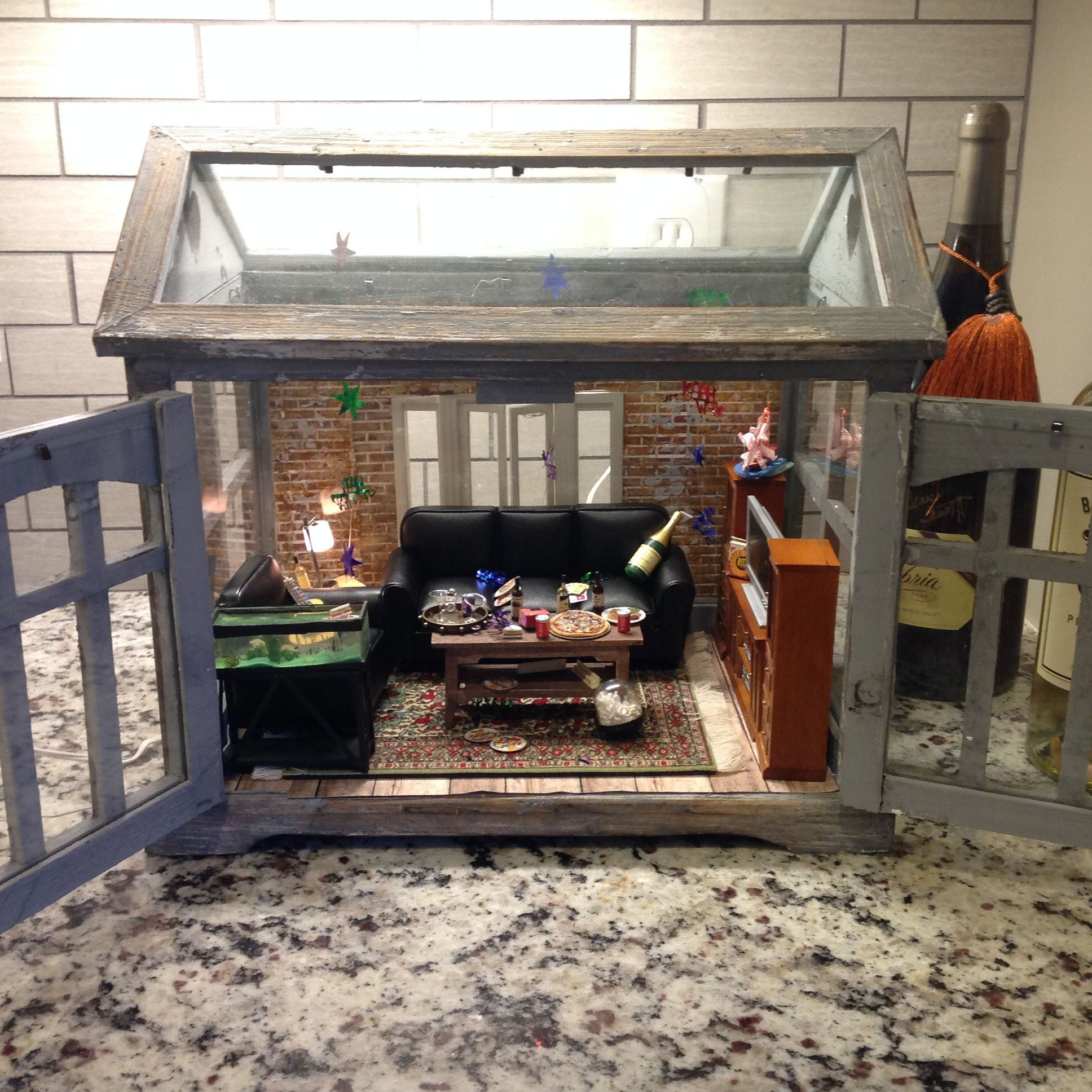 Miniature after-party scene in a Hobby Lobby terrarium for ...