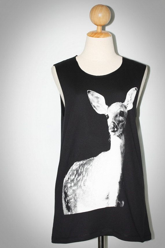Baby Deer Fawn Bambi Black Tank Top Sleeveless Women Art Punk Rock T-Shirt Size M-L