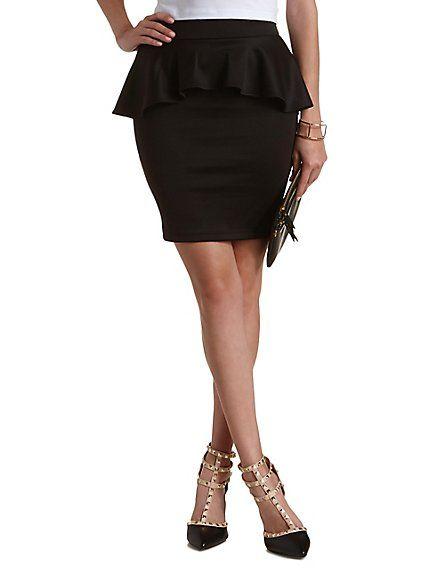 Bodycon Peplum Mini Skirt: Charlotte Russe #skirt