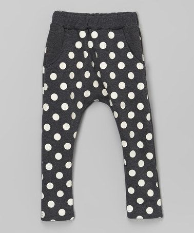 Love this Black Polka Dot Fleece-Lined Harem Pants - Infant, Toddler & Kids on #zulily! #zulilyfinds
