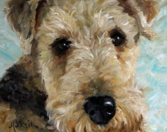 mary sparrow smith   ... Terrier Dog Puppy Art Oil Painting Home Decor / Mary Sparrow Smith