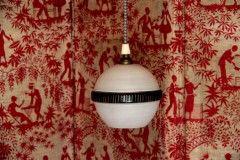 Lampe lustre avec suspension ancien luminaire abat jour globe en