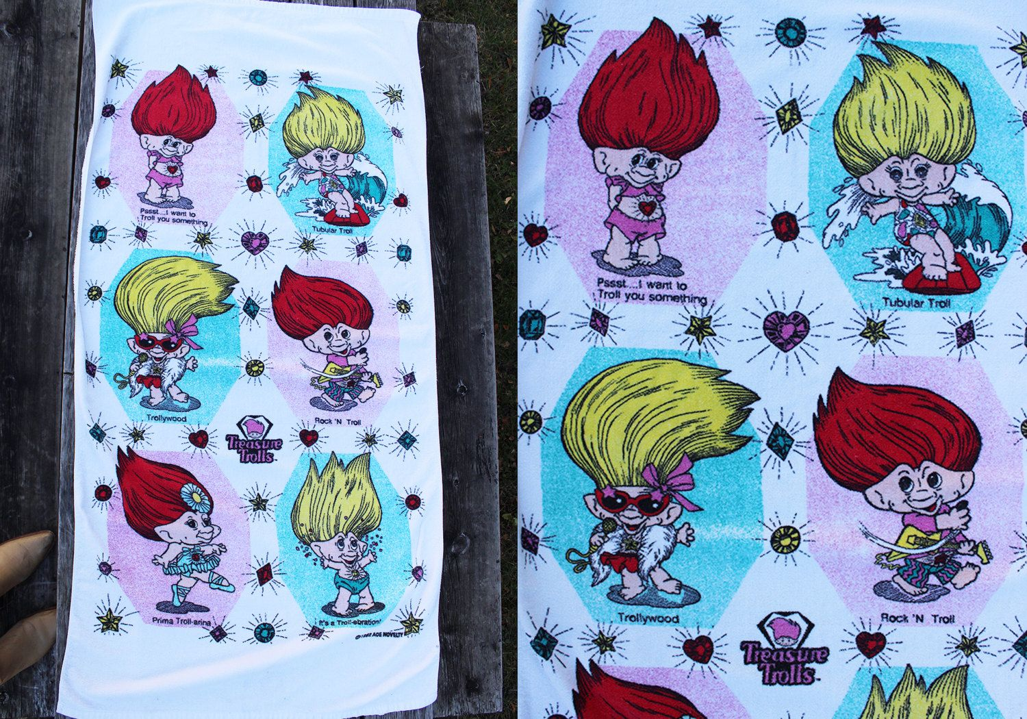 Vintage Vtg Vg 1990's TOTALLY Tubular Treasure Trolls Beach Towel Hipster Kitsch Funny Bling Retro Rock N' Troll Towel Accessory Novelty by foxandfawns on Etsy