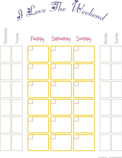 weekend calendar template