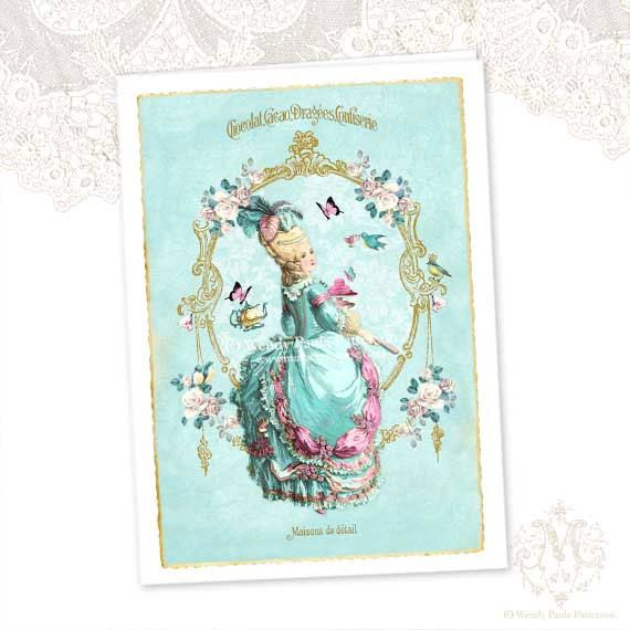 Marie Antoinette Card High Tea Card Pink Macarons French Card