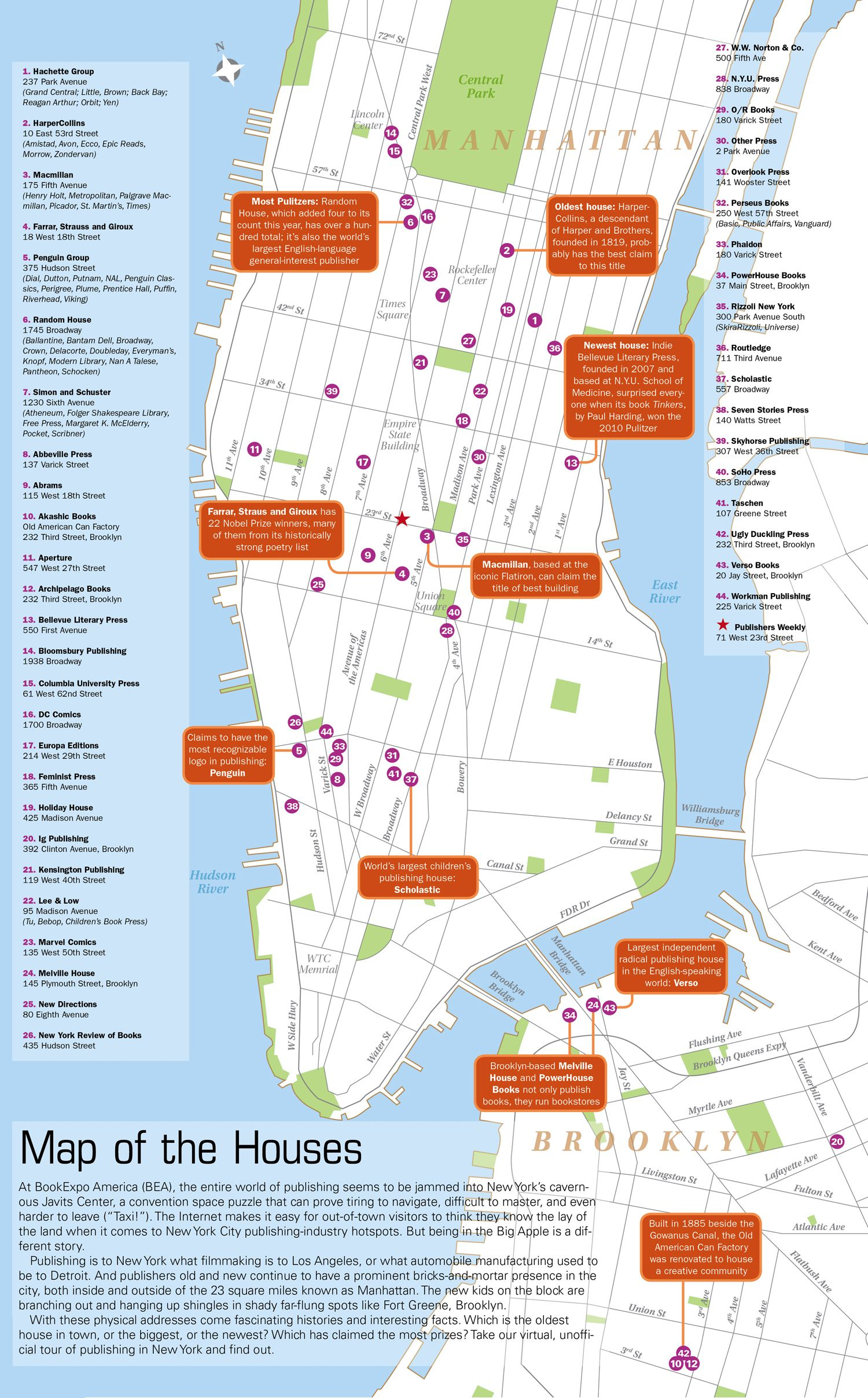 Publishers Weekly Map of NYC Publishing Houses