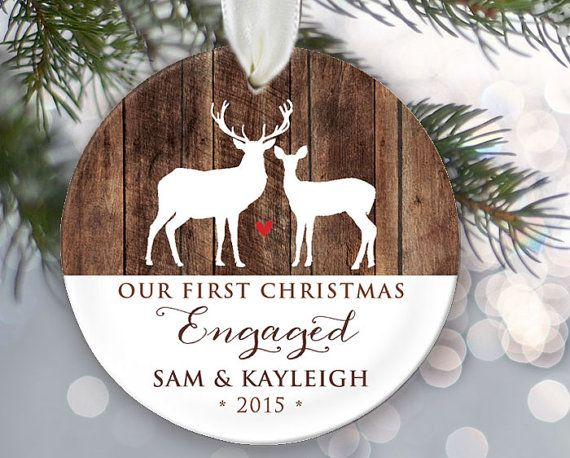 Our First Christmas Engaged Deer And Wood Ornament Engagement Personalized Christmas Ornaments Family First Christmas Married Personalized Christmas Ornaments