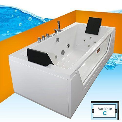 Tronitechnik Luxus Whirlpool Kos 2 Badewanne Wanne Jacuzzi 2 Personen Rechteckig Mit Bachlauf Spulfunktion Badewanne Whirlpool Badewanne Whirlpool