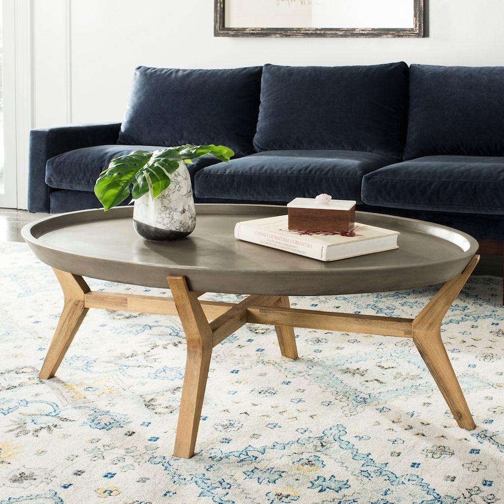 Safavieh Concrete Wood Indoor Outdoor Oval Coffee Table Kohls Coffee Table Oval Coffee Tables Simple Coffee Table [ 1024 x 1024 Pixel ]