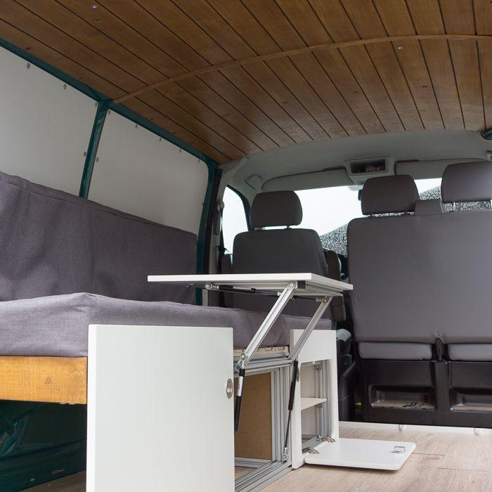 campingbus innenausbau bett ausziehbar 200 cm x 80 120. Black Bedroom Furniture Sets. Home Design Ideas