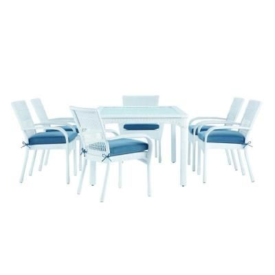 Martha Stewart Living Charlottetown White All Weather Wicker 7 Piece Patio  Dining Set With