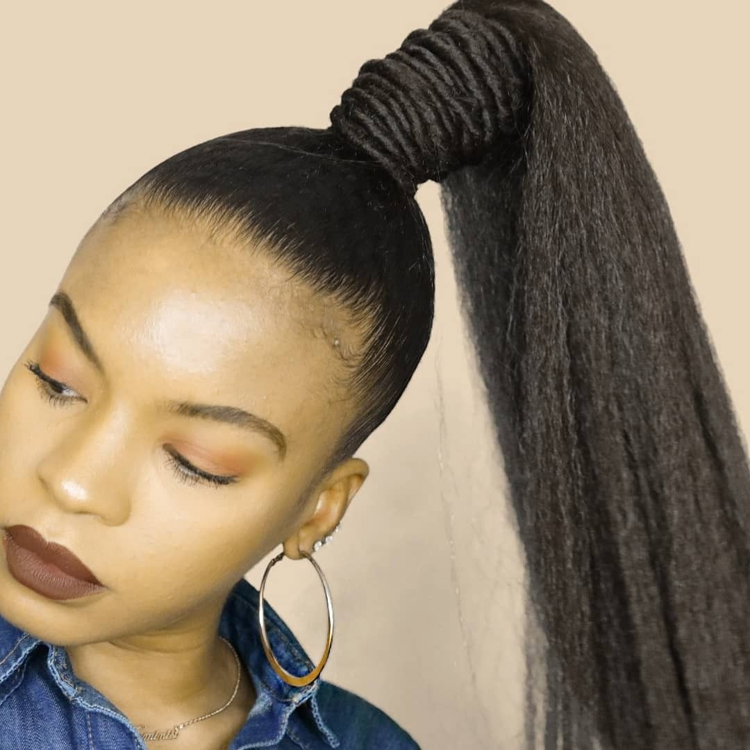 Quick Amd Easy Natural Hair Ponytail Using 1 Braiding Hair Full
