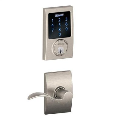 Keypad Electronic Door Lever Camelot Trim Accent Bright Brass Keyless Entry Knob