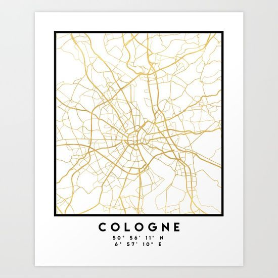 COLOGNE GERMANY CITY STREET MAP ART An elegant city street map of