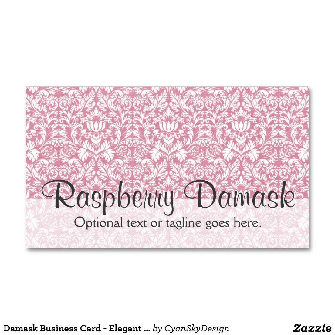 Damask Business Card - Elegant Dark Pink - #businesscard #smallbusiness #handmade #etsy #shop #branding #marketing #damask #pink