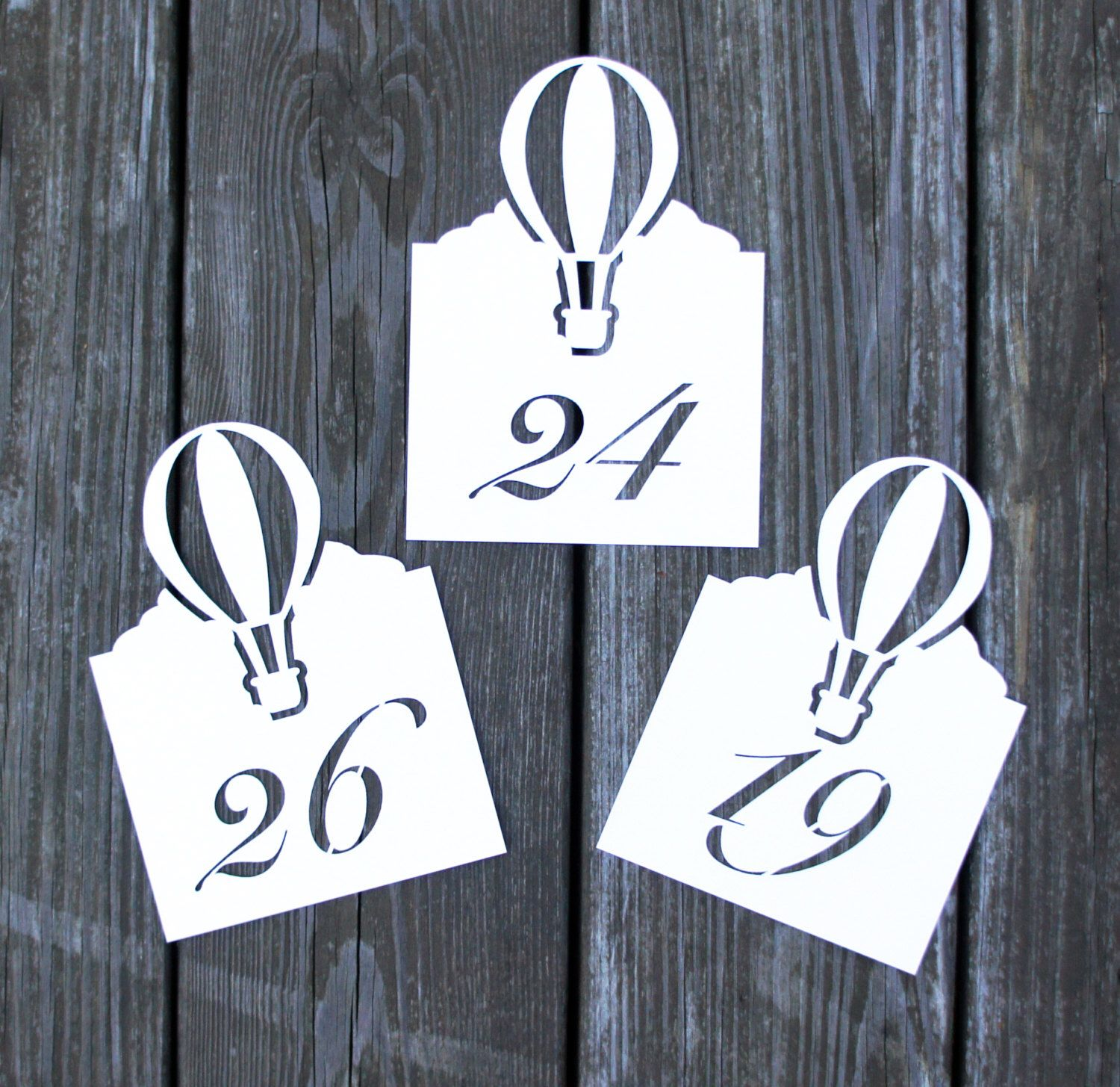 Hot Air Balloon Table Numbe Cards Wedding Place Cards Script Flat