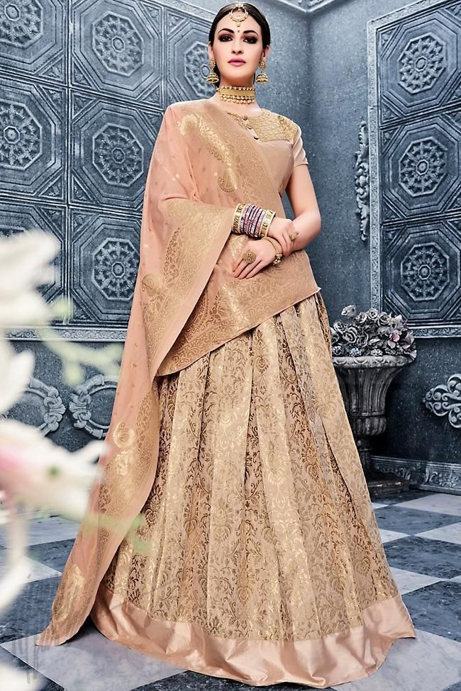 9bf992b691 Peach and Gold Banarasi Silk Lehenga Set | Banarasi Silk Lehengas by ...