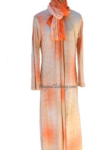 Peachy Cream Full Sleeves Jersey Knit Long Maxi Dress