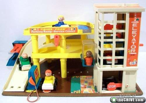 love the old Fisher Price toys! I had this exact garage :)