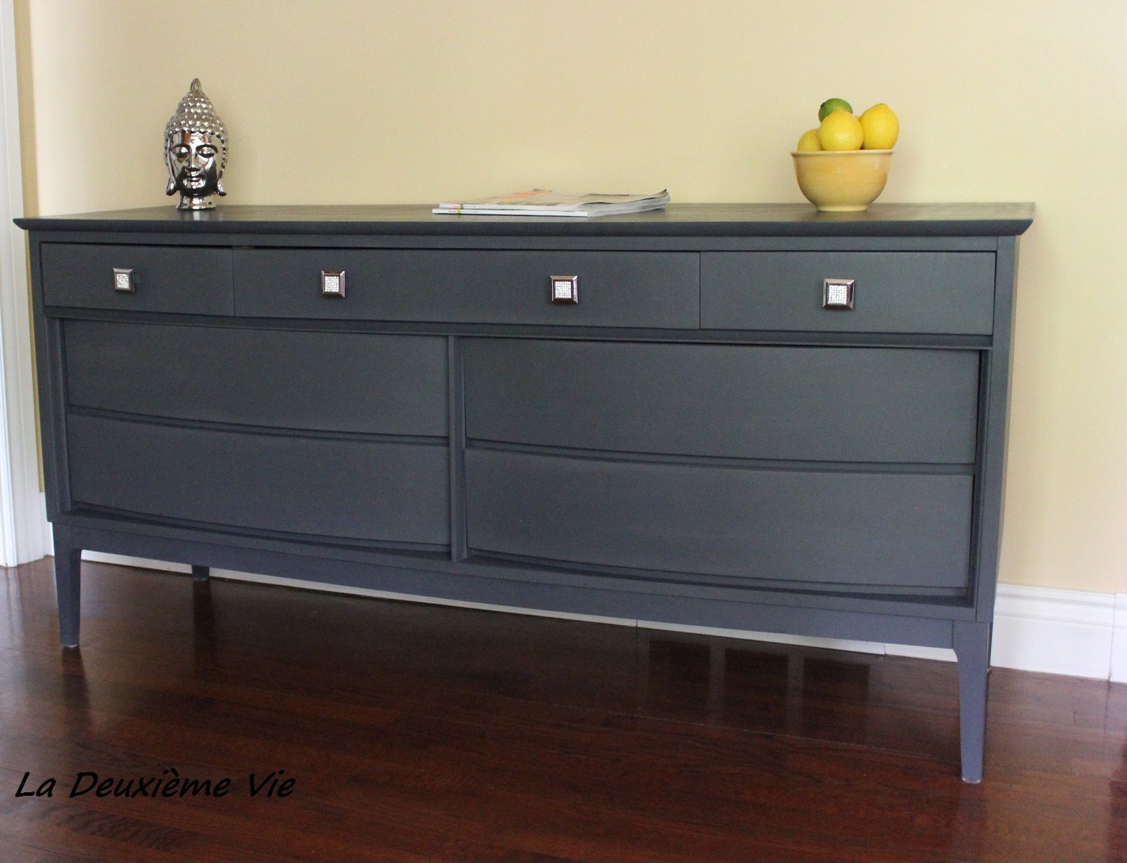Mid-century modern dresser painted with mix of Graphite and Pure White  Annie Sloan Chalk